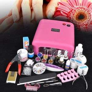 36W UV GEL Pink Lamp NAIL KIT 6 Powder Nail Liquid Gel tools Set