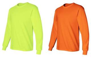 Gildan Safety Color Long Sleeve T shirt, orange or lime, 8 Sizes S 5XL
