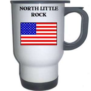 US Flag   North Little Rock, Arkansas (AR) White Stainless Steel Mug