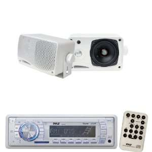 Pyle Marine Radio Receiver and Speaker Package   PLMR19W