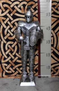 Foot Silver Suit of Armor Medieval Knight in Short Sword & Shield