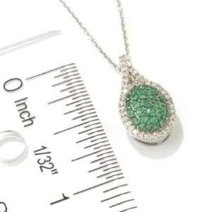 14K White Gold Emerald & Diamond Pendant w/ Chain Jewelry