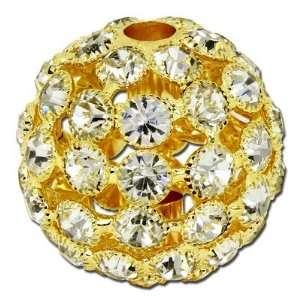 35mm Crystal Rhinestone Gold Snowball Beads Arts, Crafts & Sewing