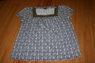 Alfani Short Sleeve Geometric Pattern Blouse Size XL EUC with Gold