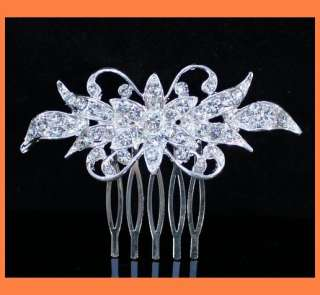 RHINESTONE CRYSTAL HAIR COMB BRIDAL WEDDING TIARA JEWELRY C0111
