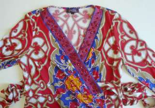 Hale Bob Floral Jersey Wrap Dress L XL 10 12 14 UK 14 16 18 NWT Red