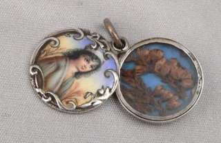 Antique Victorian SILVER & Hand Painted Enamel Portrait LOCKET Pendant