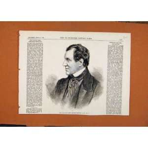 Late Sir James Emerson Tenneent Portrait C1869 Print: Home