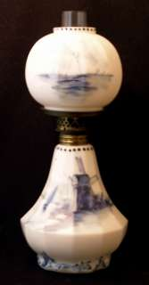 Mount Washington signed DELFT min. art glass oil lamp