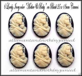 BLACK 25mm x 18mm MOTHER & BABY (MARY & JESUS) CAMEOS