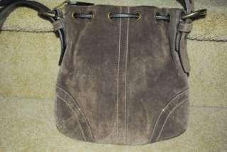 COACH BROWN SUEDE LEATHER DRAWSTRING SHOULDER BAG SMALL HANDBAG