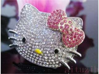 large Hello Kitty Crystal Adjustable Pink Bow Ring High Quality Xmas