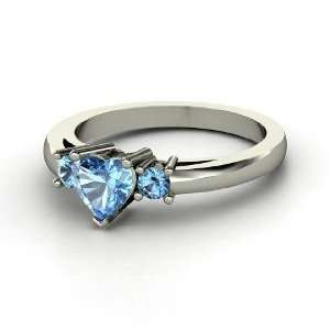 Spark My Heart Ring, Heart Blue Topaz Sterling Silver Ring Jewelry