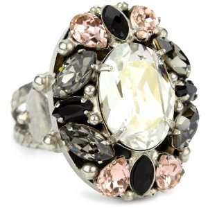 Sorrelli French Blush Crystal Cluster Silvertone Adjustable Ring