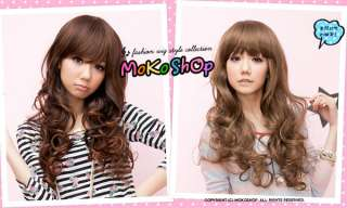 Moko Japan Cosplay Romantic Bang Long Curly Brown Wig