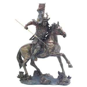 Figurine Samurai Warrior On Horse Cold Cast Resin in
