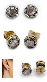 ROSE CUT DIAMOND GOLD INDIAN MOGHUL TRADITIONAL STUD EARRINGS