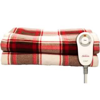 Sunbeam Sierra Red Plaid Fleece Electric Heated Throw 027045717335