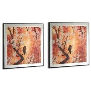 Head West Cherry Blossom Bird Art Glass Mirror, 12 Inch by