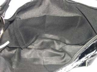 KATYDID Black Faux Leather Rhinestone Fleur De Lis Silver Studs Hobo