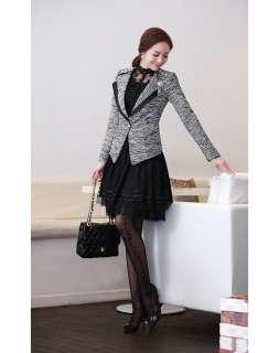 S11012 Autumn Ladies White / Black Floral Lace Beaded Shirt Blouse M L
