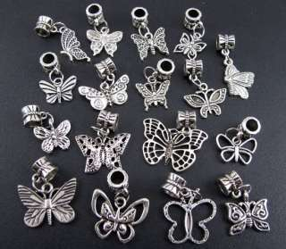 Mix 100pcs Tibetan Silver Nice Butterfly Dangle Beads Fit Charm
