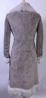 WOMENS VTG SOFT LEATHER/REAL RABBIT FUR TRIM COAT sz M