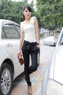 Sexy Women Fashion Harem Skinny Long Trousers OL Casual Slim Bow Pants