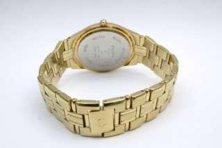 New Elgin Men Diamond Gold Tone Date Watch /Minor Scratch On Crystal