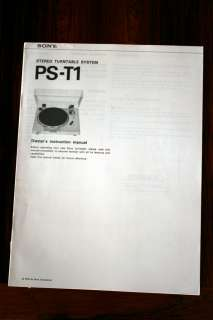 Sony PS T1 Turntable Owners Manual *Original*