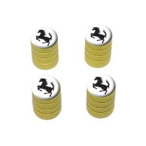 Horse Rearing Up on White   Tire Rim Valve Stem Caps   Yellow