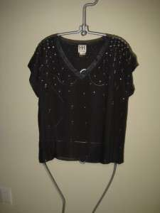 NEW HAUTE HIPPIE Embellished Silk Tee, Top Small