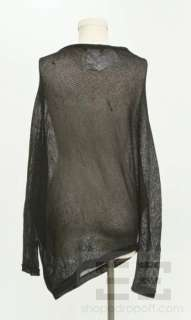 BCBG Max Azria Black Open Knit Asymmetrical Sweater Size Extra Small