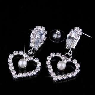 Heart White Clear Rhinestone Imitate Pearl Necklace Jewelry Wedding