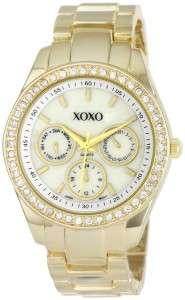 XOXO Womens XO5302A Rhinestone Accent Gold Tone Bracelet Watch