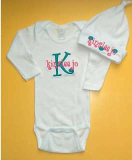 Personalized Monogram INITIAL NAME Baby HAT ONESIE SET