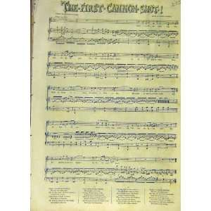 1853 First Cannon Shot Song Melody Music Score Print: Home & Kitchen