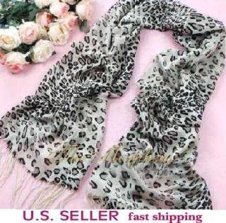 Leopard Print Pashmina Silk Wool Shawl Wrap Scarf