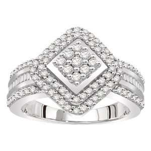 14k White Gold Cluster Diamond Ring (.85 cttw, H I Color, I2 Clarity