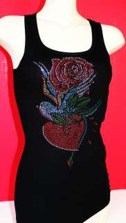 RHINESTONE LOVE BIRD TATTOO TANK TOP NEW MADE IN USA