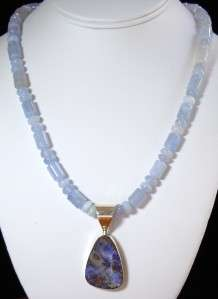 Jay King Mine Finds Blue Boulder Opal Pendant with Blue Chalcedony