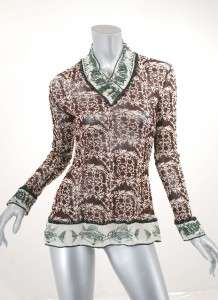 JEAN PAUL GAULTIER CLASSIQUE Brown & White Print MESH Top/Tunic NICE