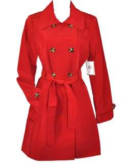 NEW London Fog Womens Belted Trench Coat Jacket Red Black Ivory Blue