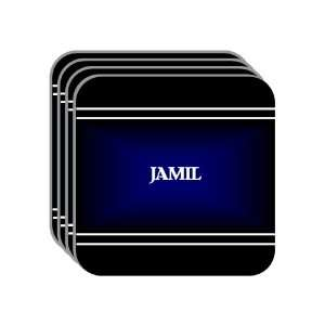 Personal Name Gift   JAMIL Set of 4 Mini Mousepad Coasters (black