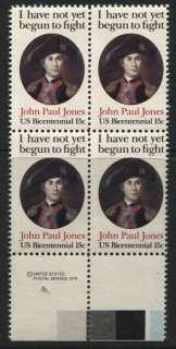 Scotts #1789 15c JOHN PAUL JONES Stamp Block, MNH