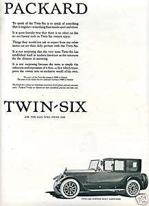 1922 PACKARD Twin SIX Car AD. Custom Built LIMOUSINE