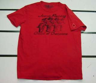 JOHNSON MOTORS MOTORCYCLE JOMO RACING T SHIRT Sz Mens L red