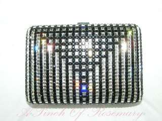 Authentic Judith Leiber Art Deco Full Crystal Clutch Bag Purse