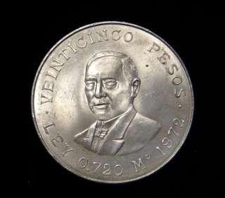 Mexico 1972 25 Pesos Coin .720 Silver BU Benito Juarez