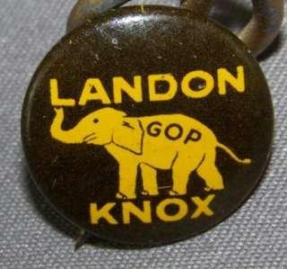 Political Campaign Pinback Button GOP Knox & Landon